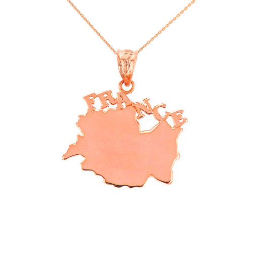 Solid Rose Gold France Pendant Necklace