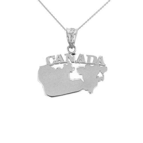 Solid White Gold Canada Pendant Necklace