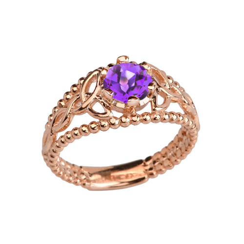 Rose Gold Genuine Amethyst Beaded Celtic Trinity Knot Engagement/Promise Ring