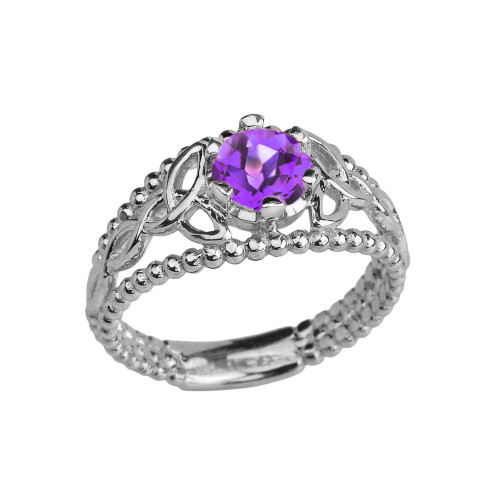 Sterling Silver Genuine Amethyst Beaded Celtic Trinity Knot Engagement/Promise Ring