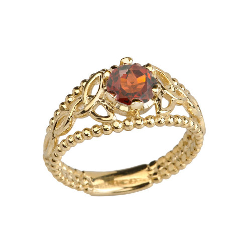 Yellow Gold Genuine Garnet Beaded Celtic Trinity Knot Engagement/Promise Ring