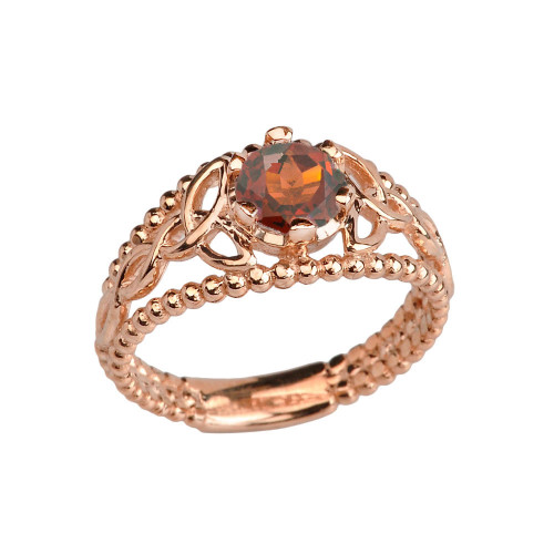 Rose Gold Genuine Garnet Beaded Celtic Trinity Knot Engagement/Promise Ring