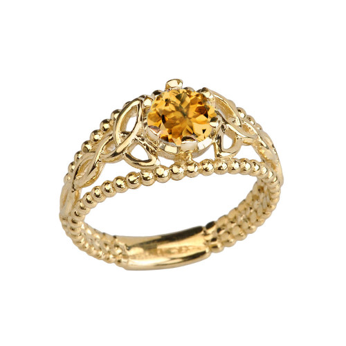 Yellow Gold Genuine Citrine Beaded Celtic Trinity Knot Engagement/Promise Ring