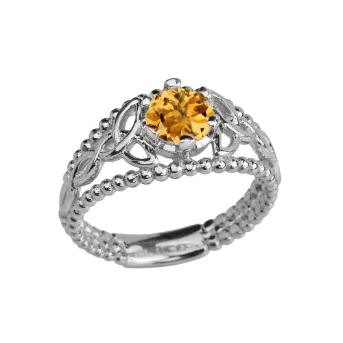 White Gold Genuine Citrine Beaded Celtic Trinity Knot Engagement/Promise Ring
