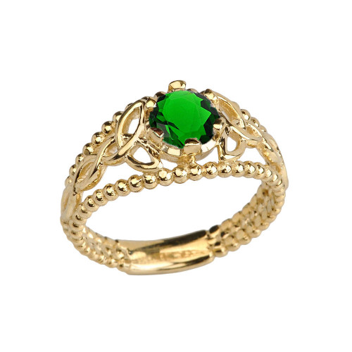 14K Yellow Gold Lab Created Emerald Beaded Celtic Trinity Knot Engagement/Promise Ring