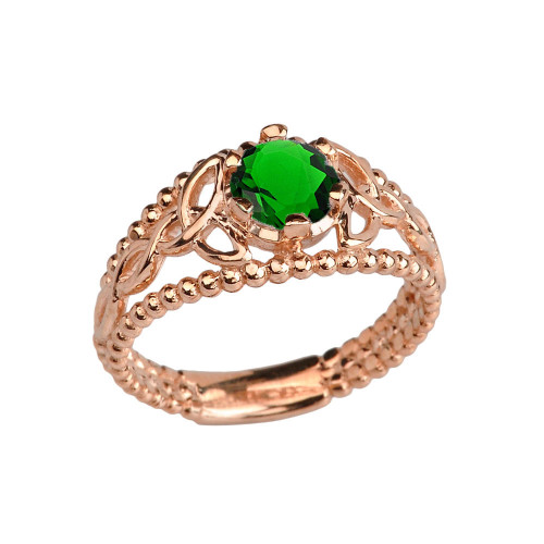 14K Rose Gold Lab Created Emerald Beaded Celtic Trinity Knot Engagement/Promise Ring