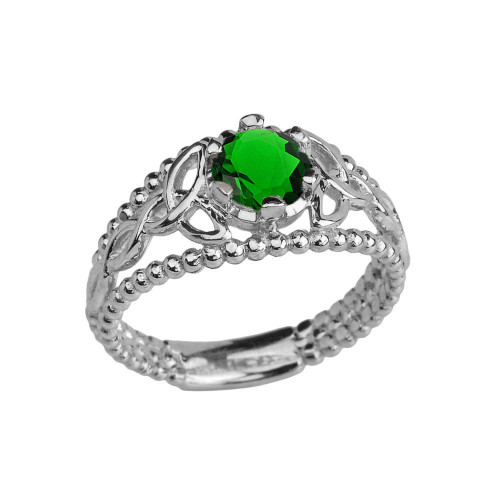White Gold Lab Created Emerald Beaded Celtic Trinity Knot Engagement/Promise Ring