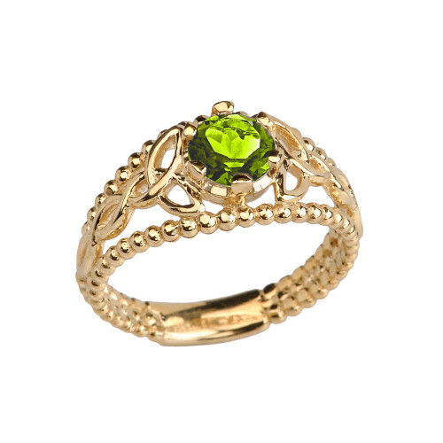 Yellow Gold Lab Created Peridot Beaded Celtic Trinity Knot Engagement/Promise Ring