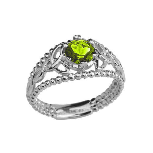 White Gold Lab Created Peridot Beaded Celtic Trinity Knot Engagement/Promise Ring