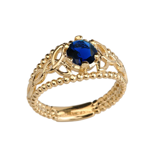 Yellow Gold Lab Created Sapphire Beaded Celtic Trinity Knot Engagement/Promise Ring