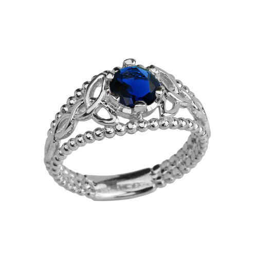 White Gold Lab Created Sapphire Beaded Celtic Trinity Knot Engagement/Promise Ring