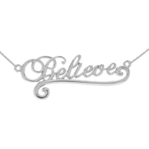 Sterling Silver Inspirational Words Cursive Believe Pendant Necklace