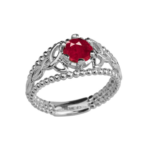White Gold Lab Created Ruby Beaded Celtic Trinity Knot Engagement/Promise Ring
