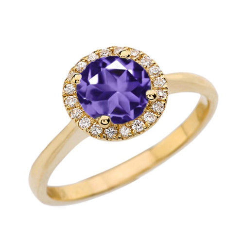 Yellow Gold Diamond Round Halo Engagement/Proposal Ring With Amethyst Center Stone