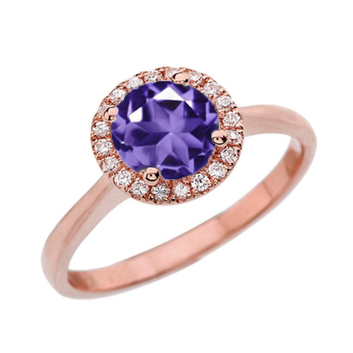 Rose Gold Diamond Round Halo Engagement/Proposal Ring With Amethyst Center Stone