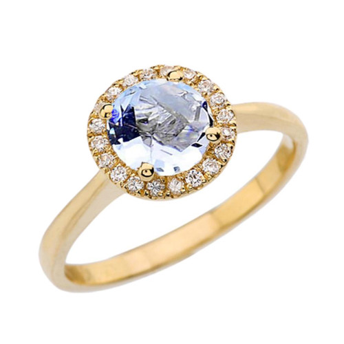 Yellow Gold Diamond Round Halo Engagement/Proposal Ring With Aquamarine Center Stone
