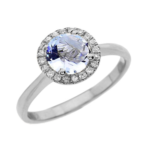 White Gold Diamond Round Halo Engagement/Proposal Ring With Aquamarine Center Stone