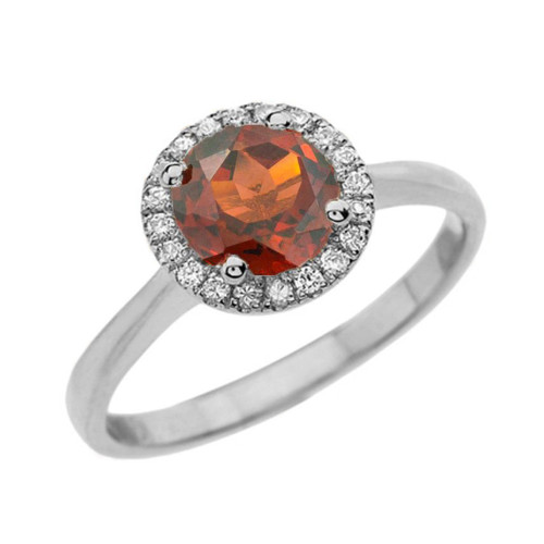 White Gold Diamond Round Halo Engagement/Proposal Ring With Garnet Center Stone