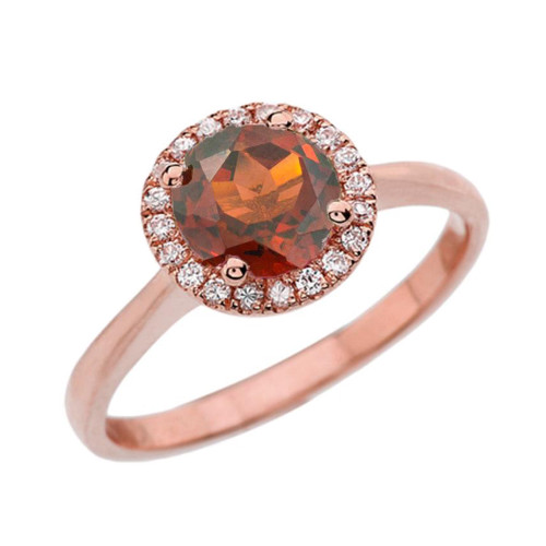 Rose Gold Diamond Round Halo Engagement/Proposal Ring With Garnet Center Stone