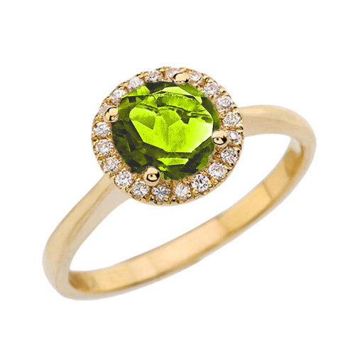 Yellow Gold Diamond Round Halo Engagement/Proposal Ring With Peridot Center Stone