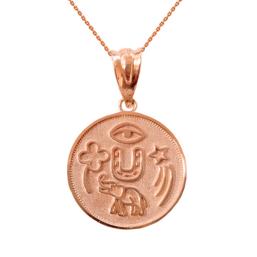Solid Rose Gold Lucky Charms Amulet Good Luck Disc Medallion Pendant Necklace