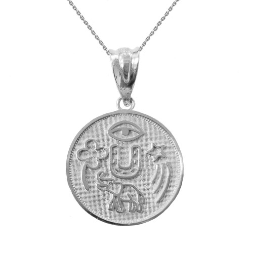 Solid White Gold Lucky Charms Amulet Good Luck Disc Medallion Pendant Necklace