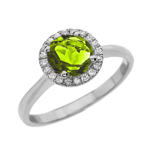 White Gold Diamond Round Halo Engagement/Proposal Ring With Peridot Center Stone