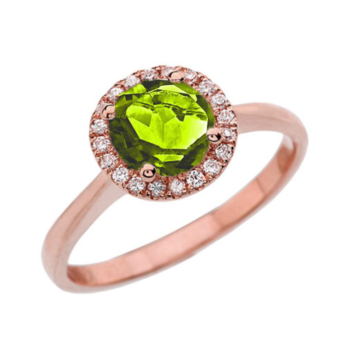 Rose Gold Diamond Round Halo Engagement/Proposal Ring With Peridot Center Stone