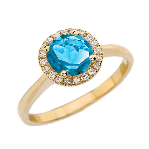 Yellow Gold Diamond Round Halo Engagement/Proposal Ring With Blue Turquoise Center Stone