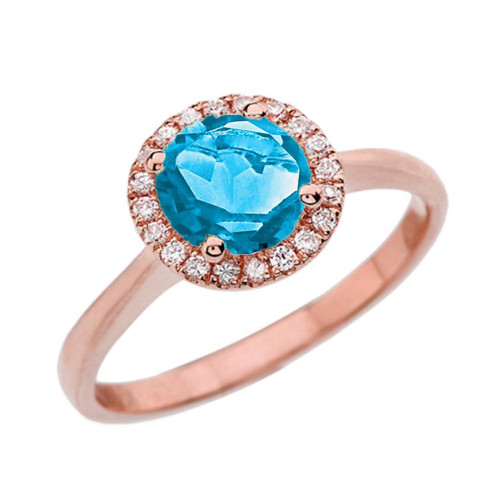 Rose Gold Diamond Round Halo Engagement/Proposal Ring With Blue Turquoise Center Stone