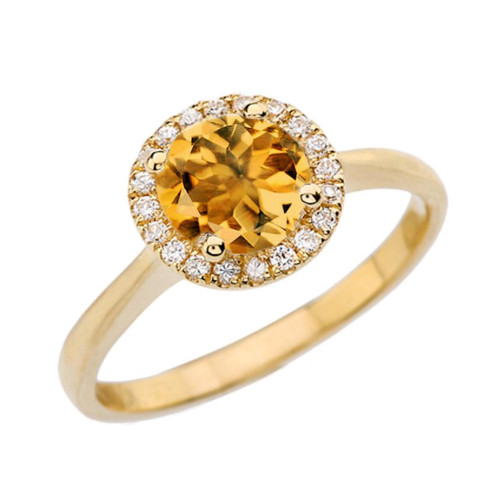 Yellow Gold Diamond Round Halo Engagement/Proposal Ring With Citrine Center Stone