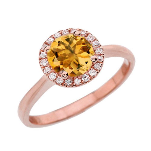 Rose Gold Diamond Round Halo Engagement/Proposal Ring With Citrine Center Stone