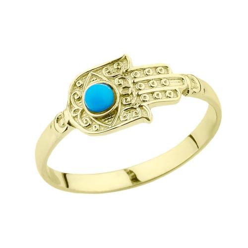 Yellow Gold Turquoise Stone Hamsa Hand Ring