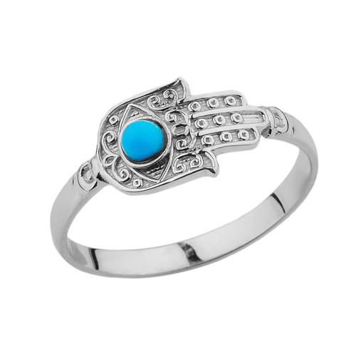 White Gold Turquoise Stone Hamsa Hand Ring