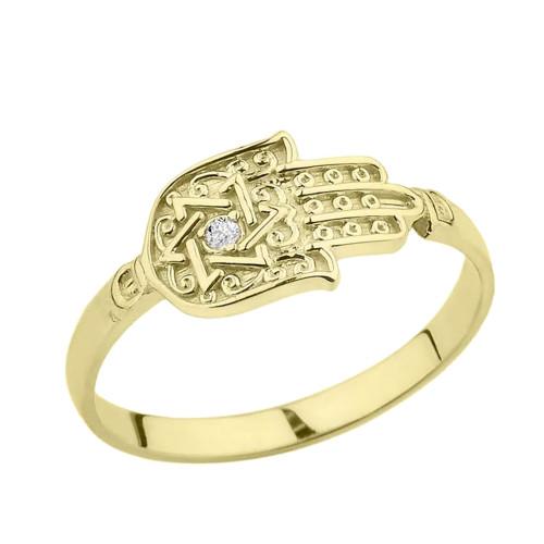 Yellow Gold Diamond Star of David Hamsa Hand Ring