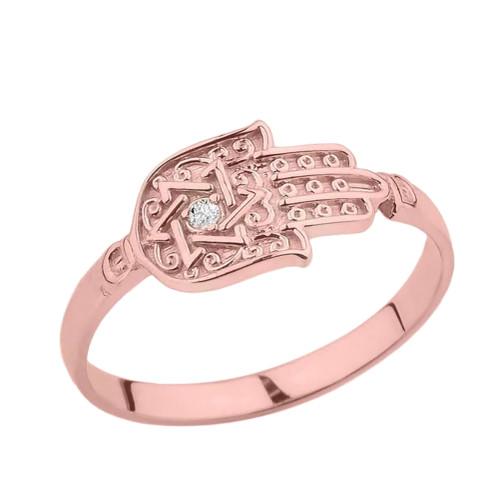 Rose Gold Diamond Star of David Hamsa Hand Ring