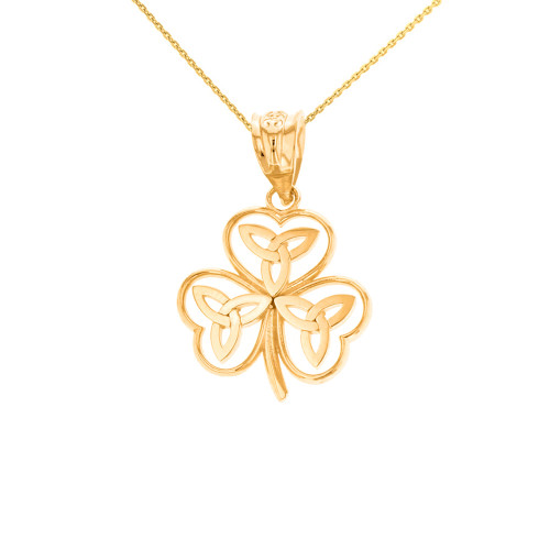 Solid Yellow Gold Celtic Trinity Knot Shamrock Pendant Necklace