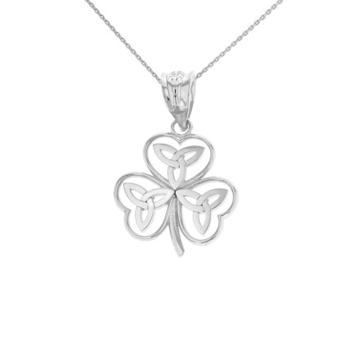 Solid White Gold Celtic Trinity Knot Shamrock Pendant Necklace