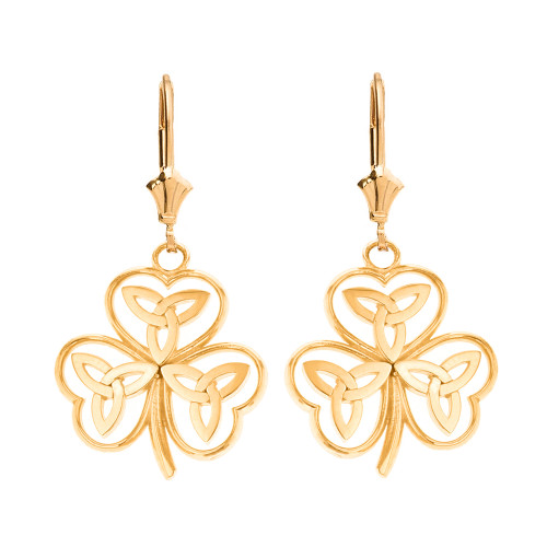 14K Solid Yellow Gold Solid Yellow Gold Celtic Trinity Knot Shamrock Drop Earring Set