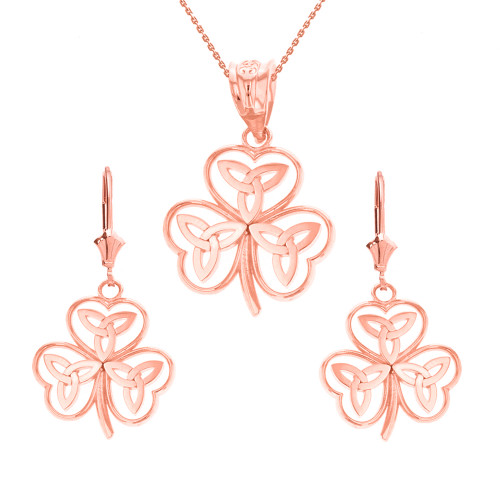 14K Solid Rose Gold Celtic Trinity Knot Shamrock Pendant Earring Set