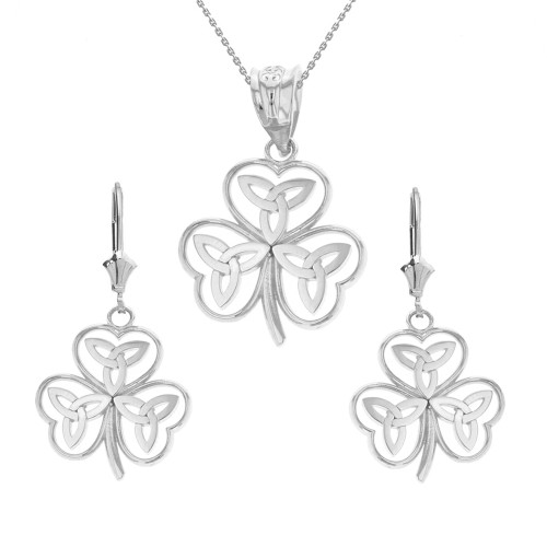 14K Solid White Gold Celtic Trinity Knot Shamrock Pendant Earring Set