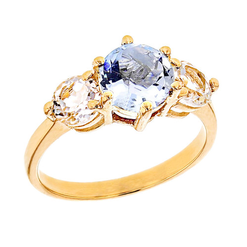 Yellow Gold Genuine Aquamarine and White Topaz Engagement/Promise Ring