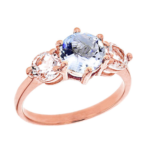 Rose Gold Genuine Aquamarine and White Topaz Engagement/Promise Ring