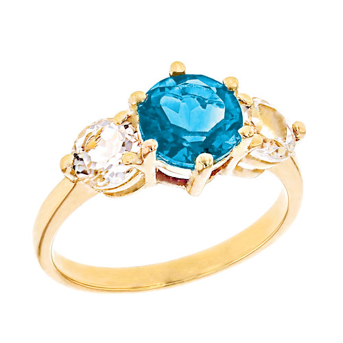 Yellow Gold Genuine Blue Topaz and White Topaz Engagement/Promise Ring