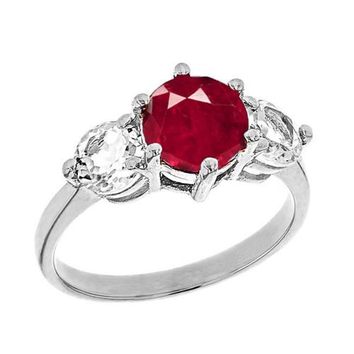 White Gold Genuine Garnet and White Topaz Engagement/Promise Ring