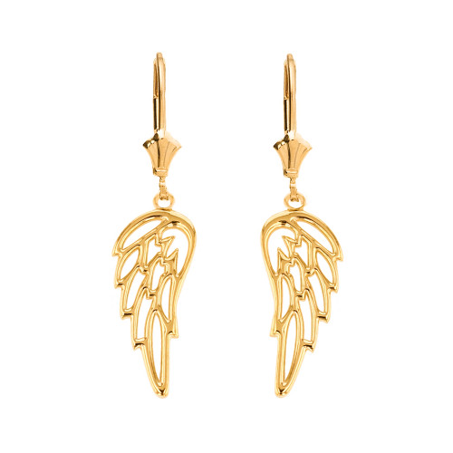 14K  Solid Yellow Gold Filigree Guardian Angel Wing Drop Earring Set