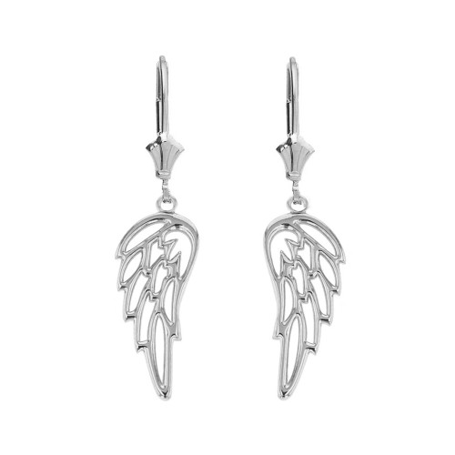14K Solid White Gold Filigree Guardian Angel Wing Drop Earring Set