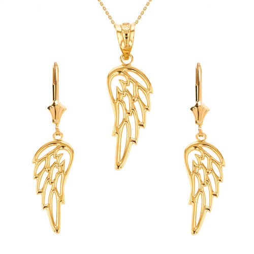 14K Solid Yellow Gold Filigree Guardian Angel Wing Pendant Earring Set