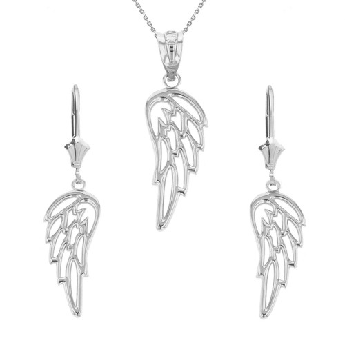 14K Solid White Gold Filigree Guardian Angel Wing Pendant Earring Set
