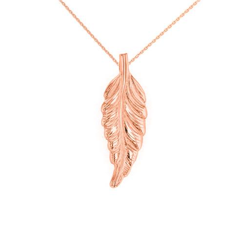 Solid Rose Gold Bohemia Boho Feather Pendant Necklace